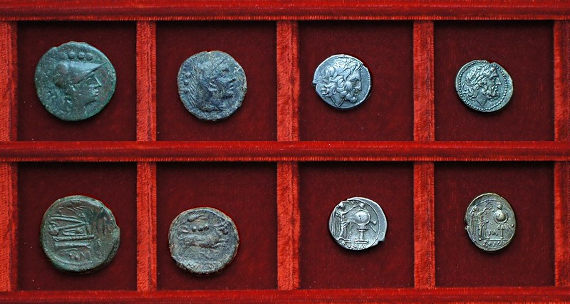 RRC 069 corn-ear and KA or IC bronzes, RRC 70 victoriatus, RRC 71 C-M victoriatus, Ahala collection, coins of the Roman Republic