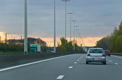 Coucher de soleil sur l'E40 en direction de Bruxelles