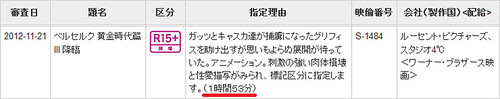 121216(2) – 映倫複審過關、『15禁』劇場版《烙印勇士 黃金時代篇III – 降臨》加長6分鐘、明春順利上映!