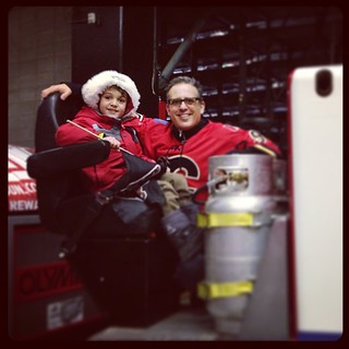 .@Zacharie driving the Zamboni at @whlhitmen game. #yyc #hockey #zamboni