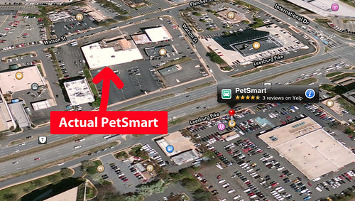 iOS 6 Maps got location of local PetSmart wrong.