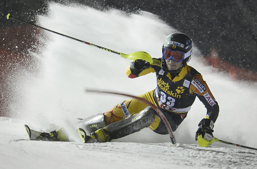 Brittany Phelan in action in World Cup slalom in Are, Sweden.