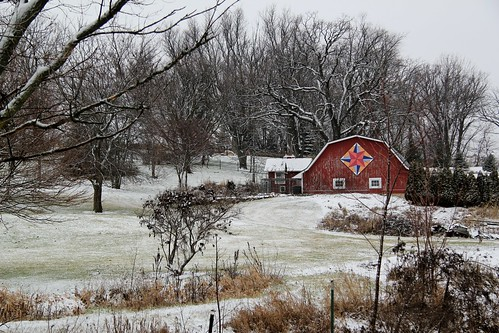 trees windows winter red snow color colors wisconsin barn canon landscape colorful quilt farm scene verona wi redbarn t2i barnquilt