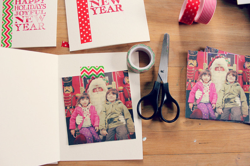 Make memorable and EASY homemade christmas cards using washi tape and a stamp!
