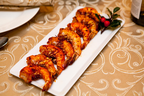 Seared paprika prawns