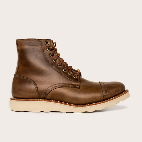 Oakstreet Bootmakers natural vibram sole cap toe trench boot