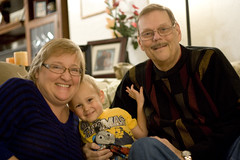 Logan with Grandpa Glen and Grandma Lori