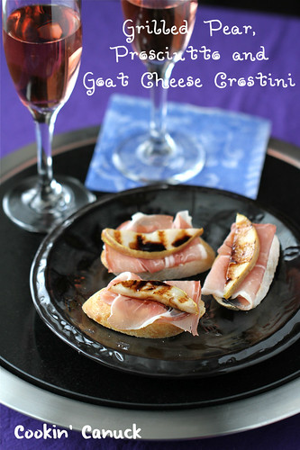 Grilled Pear, Goat Cheese & Prosciutto Crostini Recipe by Cookin' Canuck