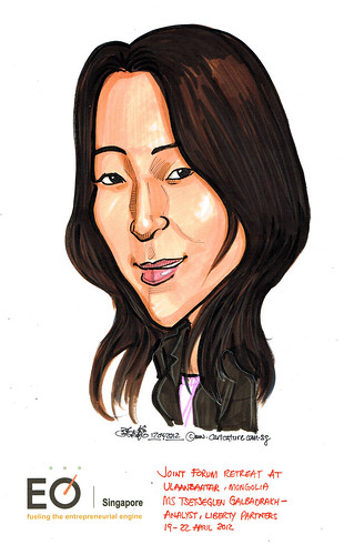 Ms Tsetseglen Galbadrakh caricature for EO SIngapore