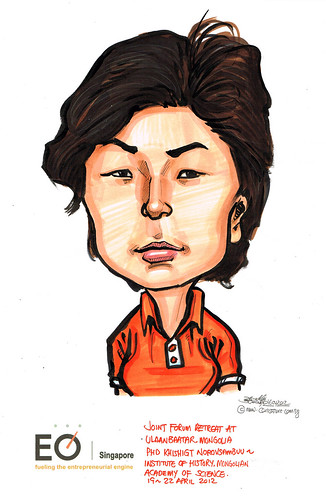 PhD Khishigt Norovsambuu caricature for EO Singapore
