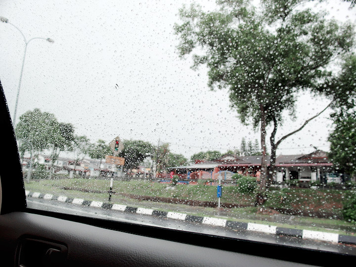 rainy day from car