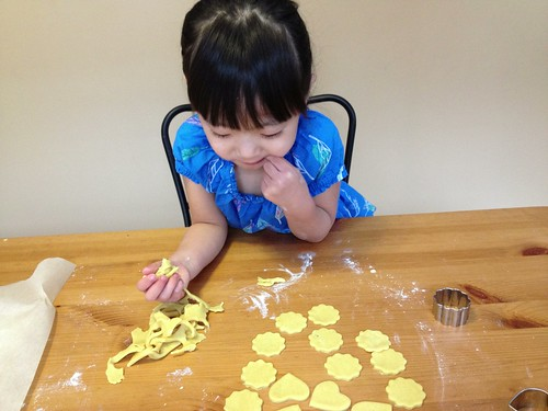 Baking crackers with Leah