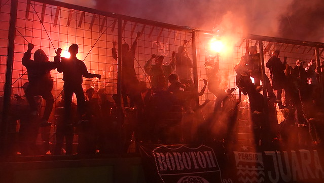 Group of football fans in Bandung, West Java, Indonesia
