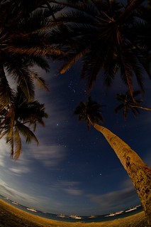 Image of  Alona  near  Tawala. longexposure travel winter sea summer sky beach nature night clouds palms stars philippines newyear fisheye panglao zenitar16mmf28 canoneos5dmarkii