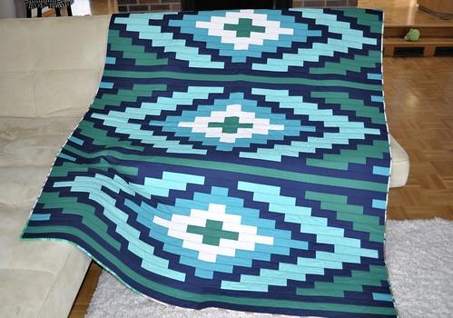 Nizhoni Workshop Spanish Textile Quilt In Aqua