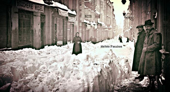 rue de Verdun ensevelie sous la neige à Carcassonne en janvier 1914 météopassion
