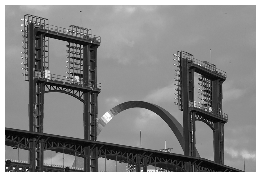 Busch Stadium and Arch - Sunset 2 BW