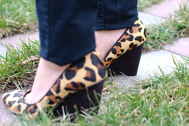 Nine West animal print wedges