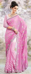 Light Pink Chiffon and Brasso Saree