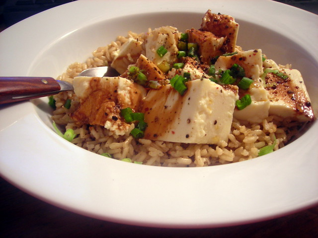 Brown basmati rice pilaf (with reserved lentil cooking liquid from last week), chilled silken tofu, scallions, sesame oil, tamari and black pepper