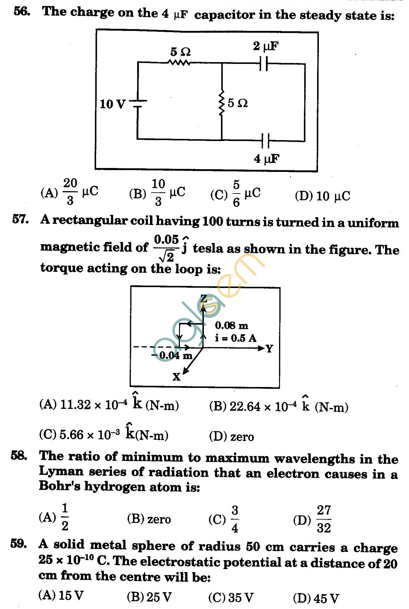 NSTSE 2009 Class XII PCM Question Paper with Answers - Physics