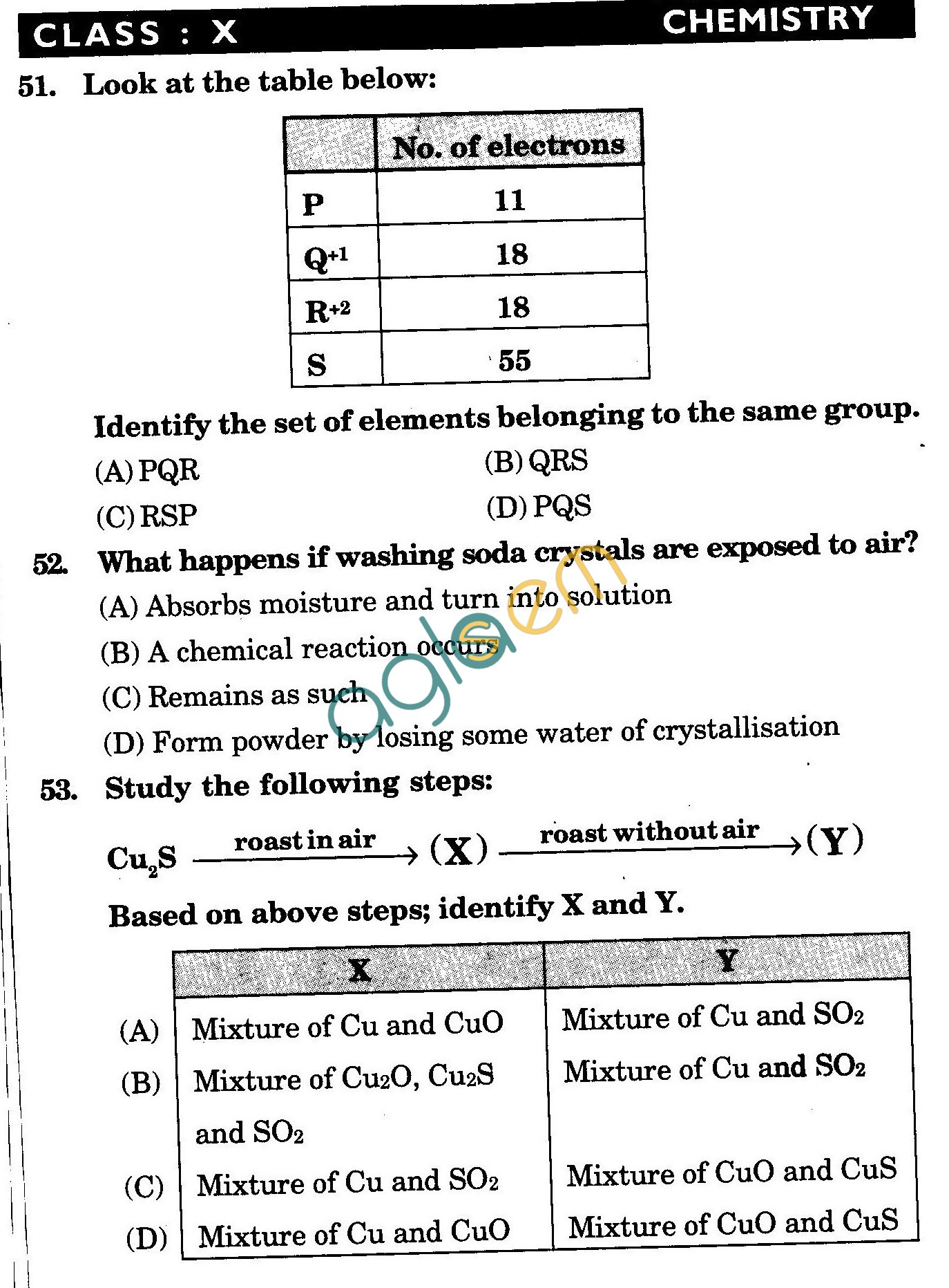 NSTSE 2010: Class X Question Paper with Answers - Chemistry