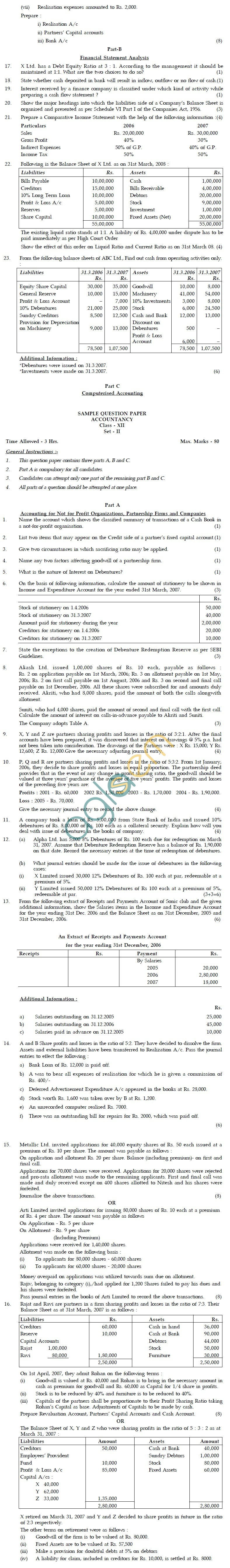 CBSE Board Exam Sample Question Papers Class XII - Accountancy