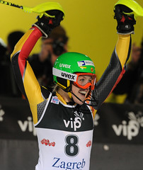 Erin Mielzynski reacts to her third-place finish in World Cup slalom in Zagreb, Croatia.
