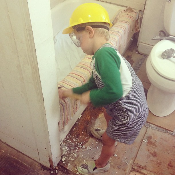 My three year old son demolished more tile than I did today.  He was a machine!