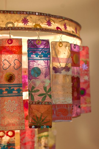 multi-color paper chandelier