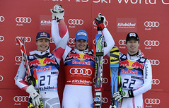 Erik Guay enjoys the second step on the podium in Kitzbühel, Austria.