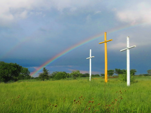 beautiful field rainbow cross jesus