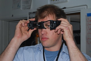 Trying on the night vision glasses that were built upon the Epson Moverio BT-100