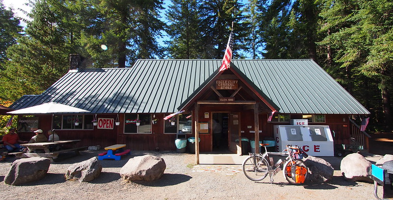 Northwoods General Store: After asking both folks hanging out there and the guy behind the register, I found a Skamania Country sheriff who was willing to take me all the way to Oldman Pass.