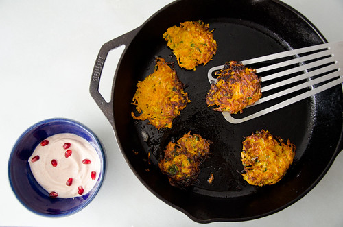 curried sweet potato, carrot, and parsnip latkes