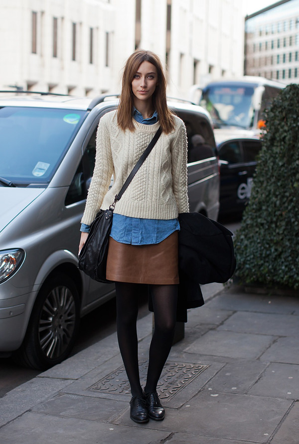 brown_leather_skirt_denim_blouse_sweater