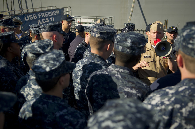 Master Chief Pettty Officer of the Navy, Michael D. Stevens, speaks with Sailors from USS Freedom
