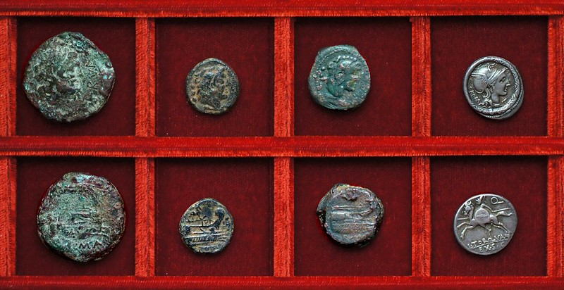 RRC 292 P.NERVA Licinia bronzes, RRC 293 L.PHILLIPVS Marcia quadrans, RRC 295 L.TORQVA Q. EX SC Manlia denarius,  Ahala collection, coins of the Roman Republic