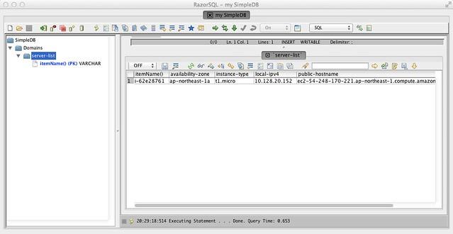 RazorSQL - 1台分のデータ登録完了