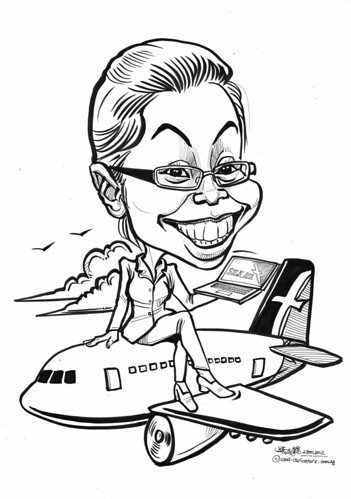 administrative officer caricature for SilkAir