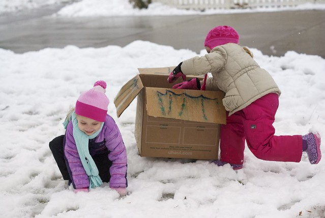 Sidney & Vivianne (A cardboard box and snow...)
