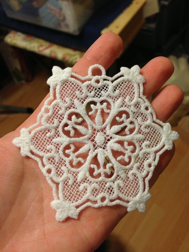 Lace ornament after water soluable stabilizer soaked off - Cotton serger thread