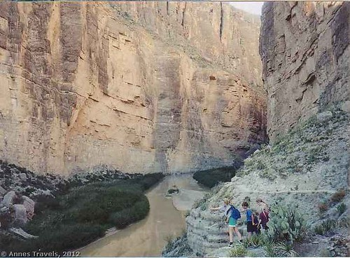 Throwing rocks into Mexico, Santa Elena Canyon, Texas