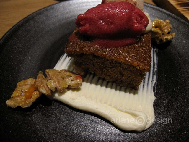 Forage/Carrot cake, Neufchâtel frosting, candied walnut, cranberry sorbet