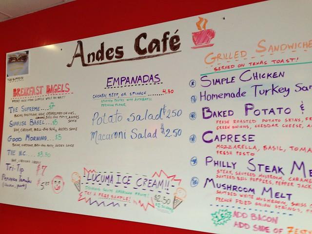 Menu at Andes Café
