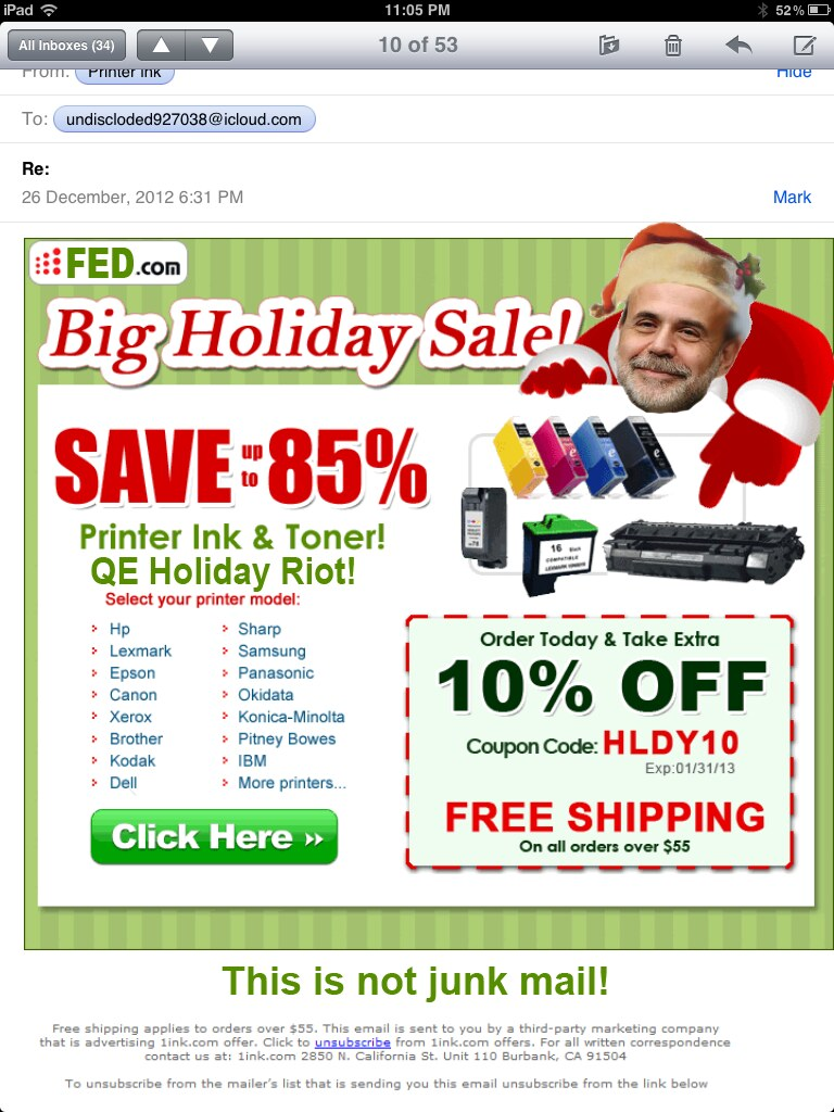HOLIDAY JUNK MAIL