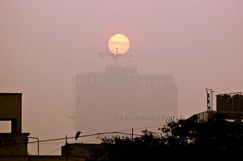 city winter sky urban sunlight mist fog sunrise canon asia bengal calcutta bangla westbengal lopa lopamudra kpw westbengaltourism paschimbanga kolkataphotographersworld lopamudrabag