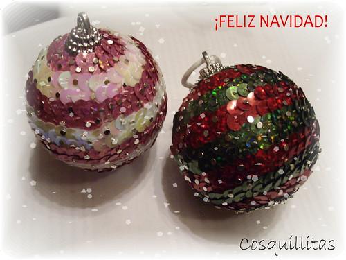 BOLAS. Con lentejuelas y bolas de polispán. by llaverito1979