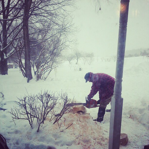 Anything hotter than my husband out in the falling snow w a chain saw? I think not. @seanhagarty