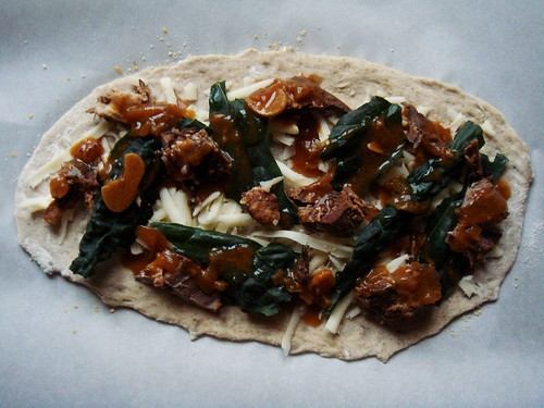 Onion Brisket & Kale Flatbread: Before Baking